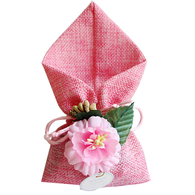 50pcs Gift box Linen bag with flowers boypackaging Wedding Candy gift bags Camellia gift boxes Bonbonniere Event Party Supplies in Gift Bags Wrapping Supplies from Home Garden