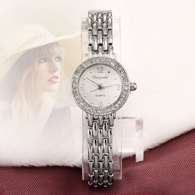 2018 New Arrive Fashion and casual Ladies watches Silver bracelet Luxury crystal