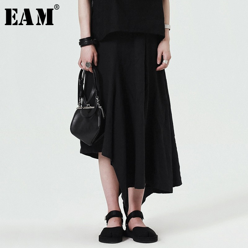 [EAM] 2018 New Summer Women Fashion Tide Loose Casual Solid Color High Wasit Asymmetric Ankle-length Wid Leg Pants LA181