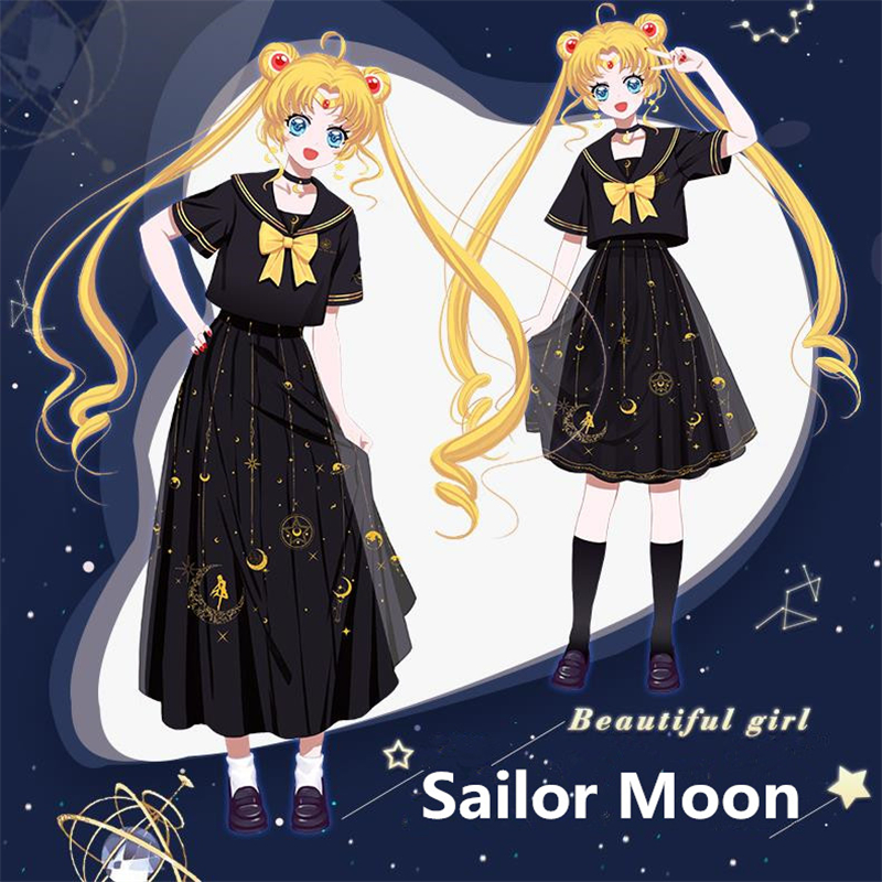 New Anime Sailor Moon Tsukino Usagi Cosplay Costumes Women Girls Kawaii Summer Dress Lady Cotton T-shirt Short Skirt Sailor Suit