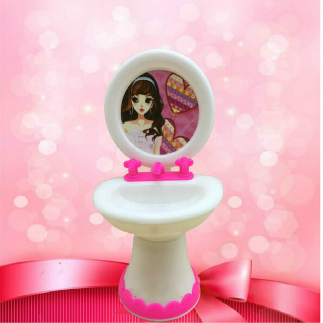2 Items=Cute Doll Closestool+Washbasin Toilet Wash Devices Dollhouse Furniture Bathroom Set For  and  for Kelly dolls 5