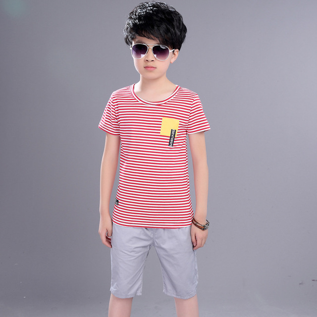 Kids Boys Summer  New Suit Children Summer Wear In Children's Short Sleeve +pant Two Piece Clothes Sets 4-12 Ages