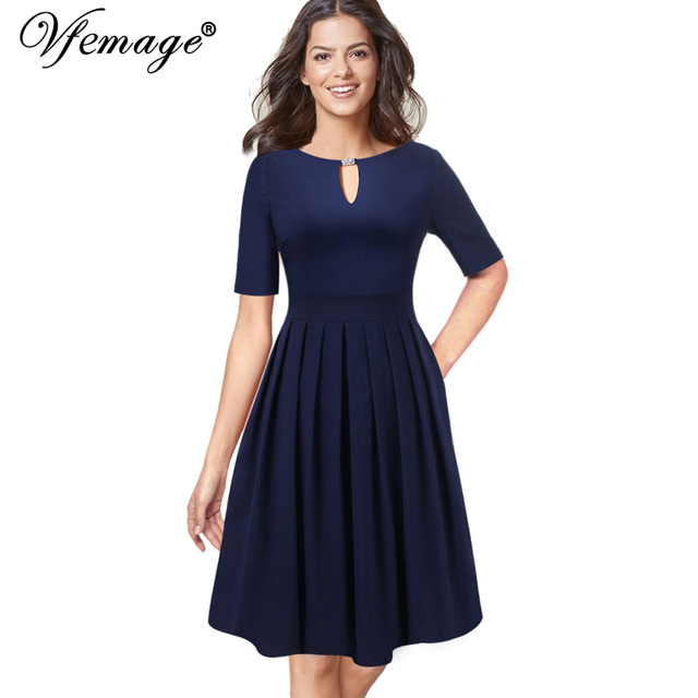 382fd0dd2935 Vfemage Women Sexy Elegant Keyhole Front Pocket Pleated Business Cocktail  Casual Party Fit and Flare Tea Skater A-Line Dress 728