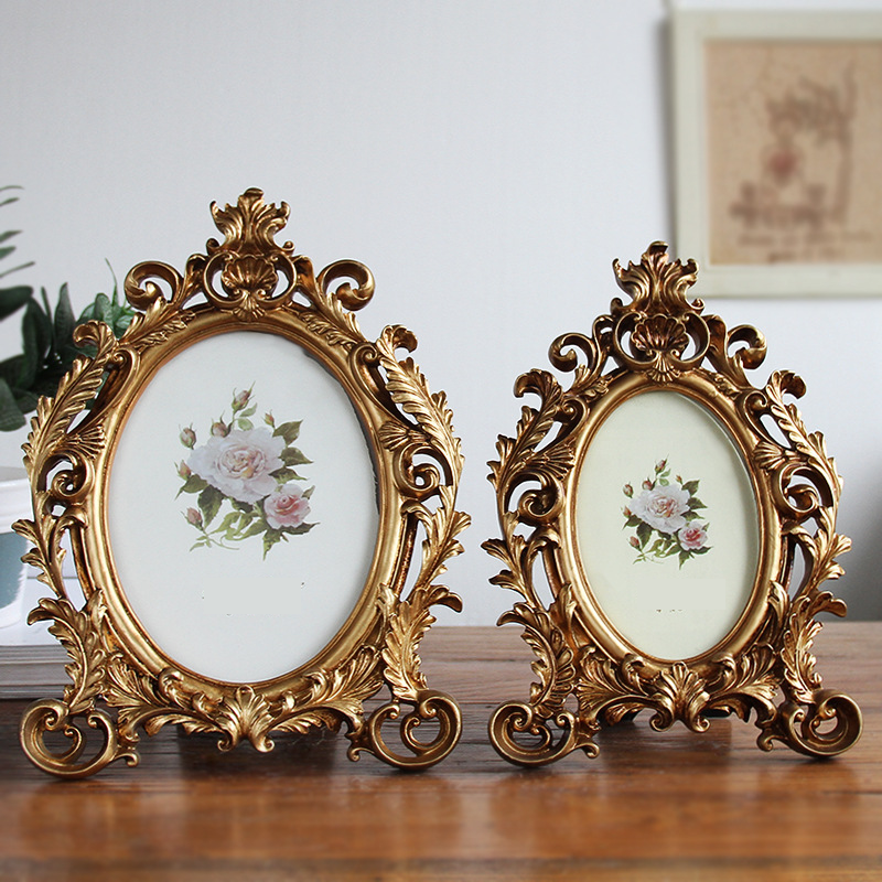Luxe Style Baroque Gold Crown Décor Créatif en Résine Photo Bureau Cadre
