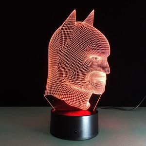 Image 2 - Batman Superhero Novelty Lamp 7 Color Changing Visual Illusion LED Light Toy Action Figure Birthday Gift