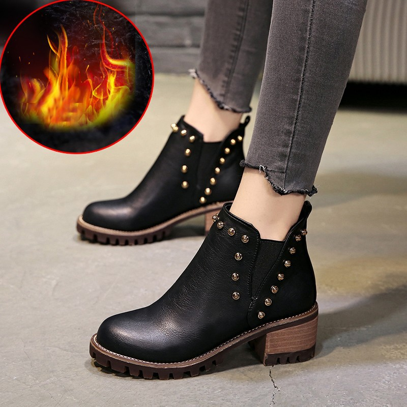 LAKESHI Mujer Zapatos Women Boots 2018 Fashion New Martin Boots PU Leather Women Ankle Boots Women High Heels Boots Women Botas цена