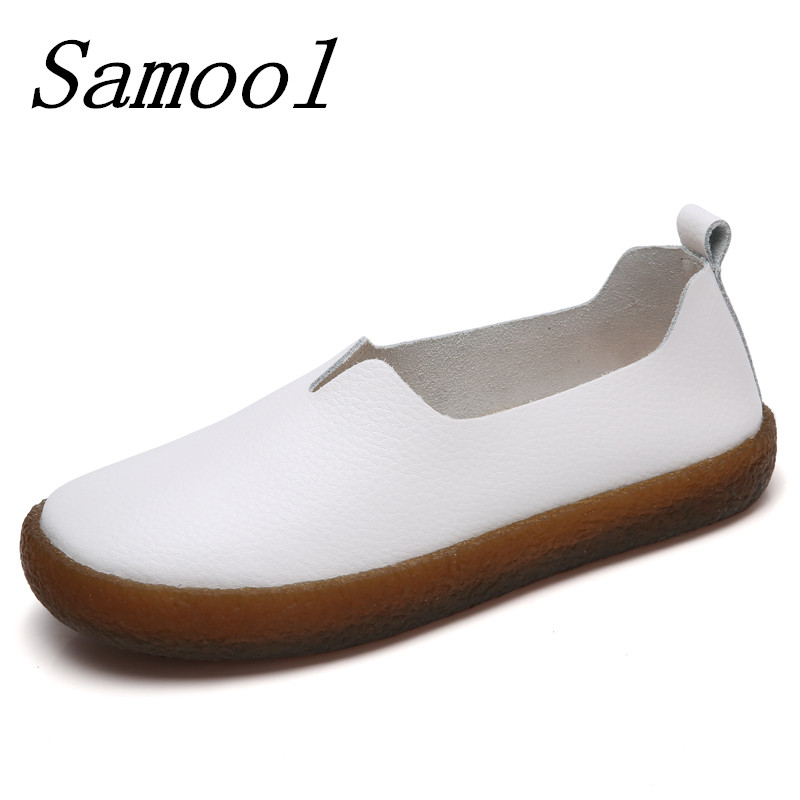 2018 Fashion Woman Shoes Genuine Leather Loafers Female Solid Casual shoes Handmade Soft Comfortable Shoes Women Flats jx5 top brand high quality genuine leather casual men shoes cow suede comfortable loafers soft breathable shoes men flats warm