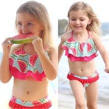 2018 Summer  Kids Baby Girl Watermelon Tankini Bikini Set Swimwear Swimsuit Bathing Suit Beachwear