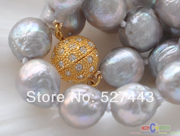FREE SHIPPING>>@> Wholesale fast Lustre 17 13mm GRAY almost round BAROQUE Edison PEARL NECKLACE NEW