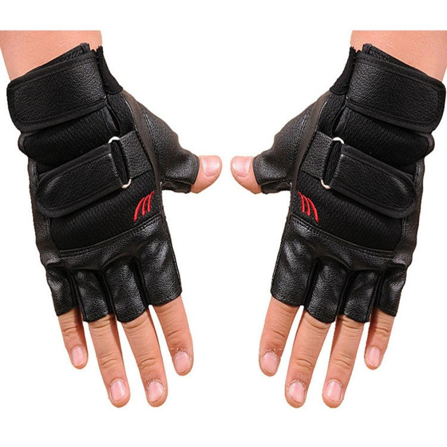 Childrens black leather gloves - Men S Pu Leather Half Finger Gloves Boy Gym Exercise Training Sport Fitness Sports Half Finger Leather