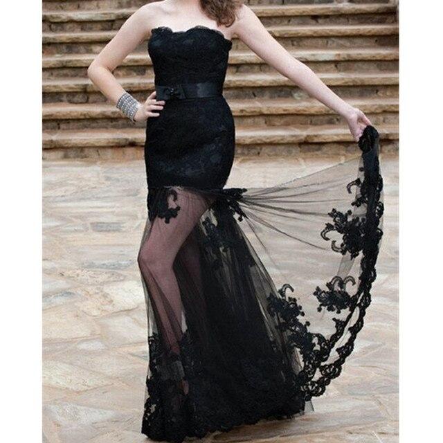 4f52b9e9f Sexy Negro Vestidos de Noche Sin Tirantes de Encaje de Tul Transparente  Vestido de Fiesta de