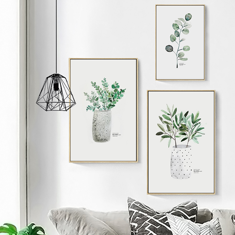 Simple Watercolor Vase Green Plant Art Poster Wall Art Print Canvas Painting Picture Modern Home Living Simple Watercolor Vase Green Plant Art Poster Wall Art Print Canvas Painting Picture Modern Home Living Room Decoration Custom