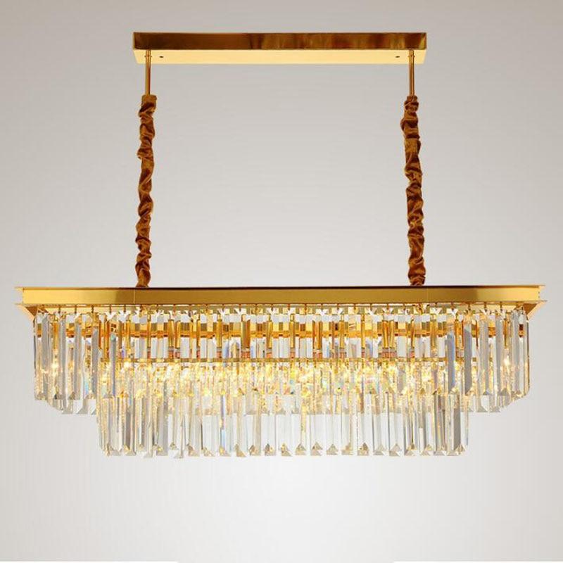 Us 216 2 54 Off Rectangular Gold Chandelier Dining Room Crystal Chandeliers Post Modern Designer Lamps Bar Lamp Living Led In