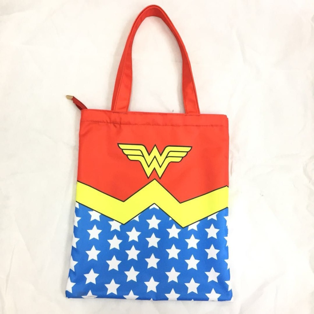 Anime Wonder Woman Shopping Bags Hero Super Girl LOGO Tote Lady Summer Beach Bag Portable Shoulder Handbag Gifts Handy Bags