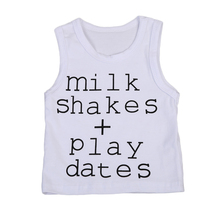 Pudcoco Summer Cotton Newborn Infant Baby Boy Sleeveless Simple Letter Tee Tank Top T Shirts outfits Clothes
