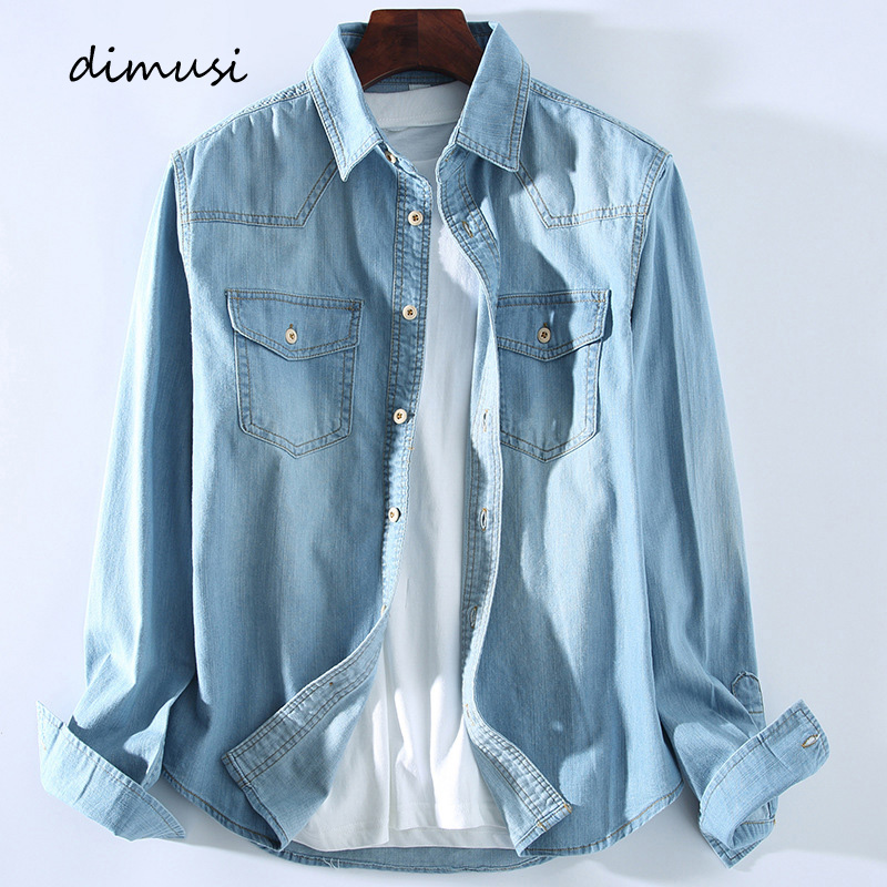 DIMUSI Mens Denim Shirt Tropical Casual Men Long Sleeve Windbreaker Shirt Male Cotton Cowboy Jean Shirts Clothing 3XL,YA934