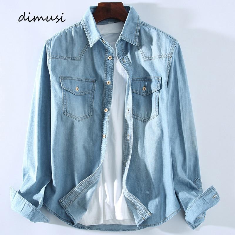 DIMUSI Mens Denim Shirt Tropical Casual Men Long Sleeve Windbreaker Shirt Male Cotton Cowboy Jean Shirts Clothing 3XL,YA934