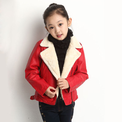 The boy leather jacket with velvet jacket 2016 thick winter kids children upset girl