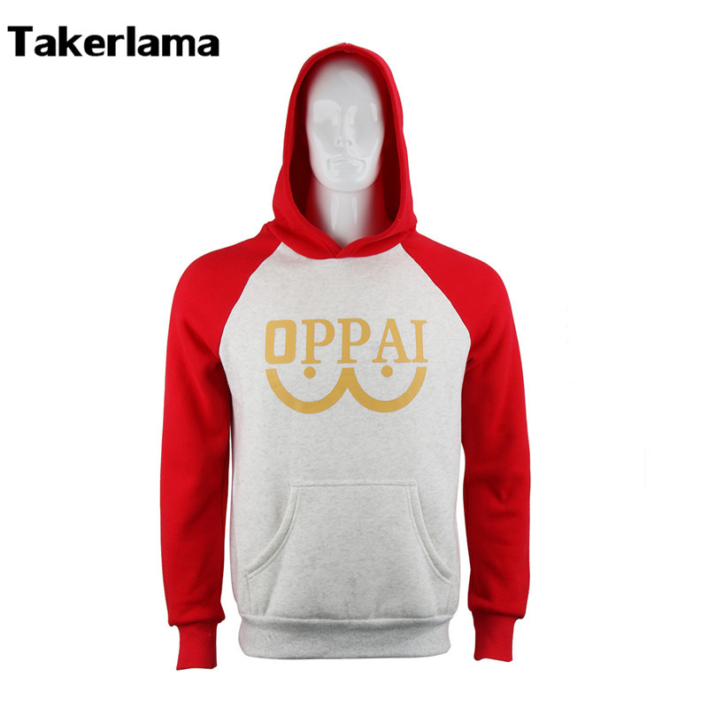 Takerlama One Punch Man Saitama Oppai Hoodie Anime Cosplay Costume Hooded Sweatshirt Fleece Man and Woman Size Jacket Unisex
