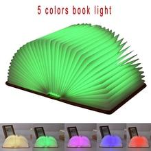 Book LED Light 5 Colors Magic Night USB Charging Folding Lamp Desk Table Wall Droplight Shape