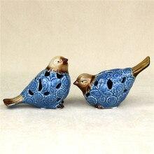 Hand Painted Porcelain Couple Bird Figurine Cutout Ceramic Birdie Lovers Miniature Decor Gift Craft Trinket Ornament Accessories