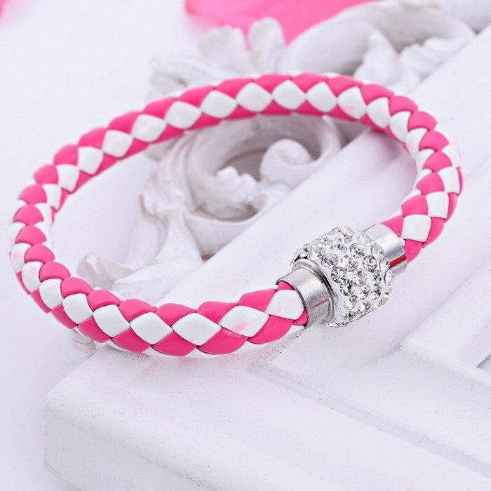 free ePacket ship 12 colors Pu Leather Bracelet Crystal Ball Black and White Braided Fireball Magnetic Clasp shamballa bracelet