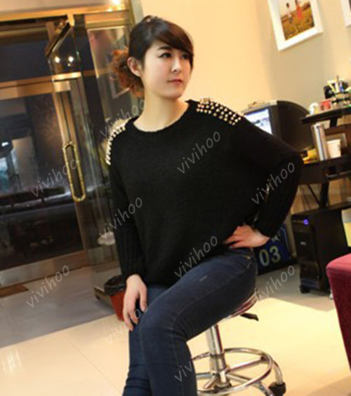 Wholesael 2016 Fashion Batwing Sleeve Chain Punk Stud Rivets Design Loose Solid Pullover Casual Wool Knitted Sweater Shirt Tops