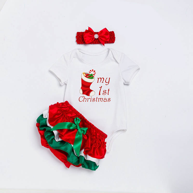 Festival Baby Clothes Set My First Christmas Socks Letter Print Romper Tutu Pants+Hat For Boys Girls Newborn Roupas Bebes Infant 3pcs set newborn girls christmas clothes set warm hat letter print romper love arrow print pants leisure toddler baby outfit set