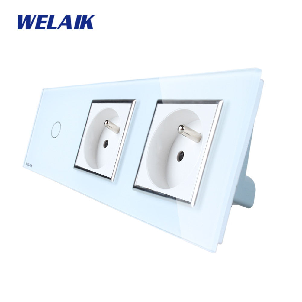 WELAIK 3Frame Crystal Glass Panel   Wall Switch France Touch Switch  France Wall  Socket 1gang1way AC110~250V A39118F8FCW/B welaik crystal glass panel switch white wall switch eu remote control touch switch light switch 1gang2way ac110 250v a1914w b