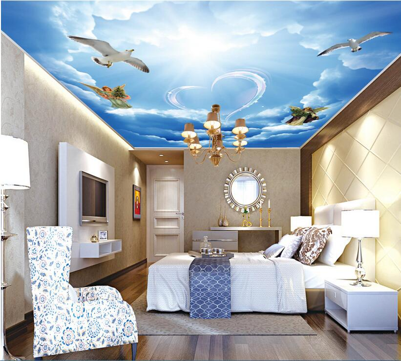 3d ceiling murals wallpaper custom photo non-woven The white clouds Love angel painting 3d wall mural wallpaper for living room ceiling non woven wallpapr home decoration wallpapers for living room 3d mural wallpaper ceiling customize size