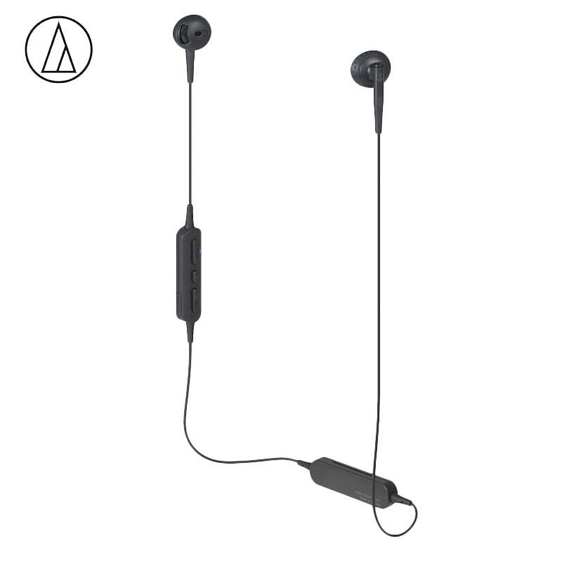 Originele Audio Technica ATH C200BT Bluetooth Oortelefoon Draadloze Sport Half oor Fllat Hoofd Hals Opknoping Oortelefoon