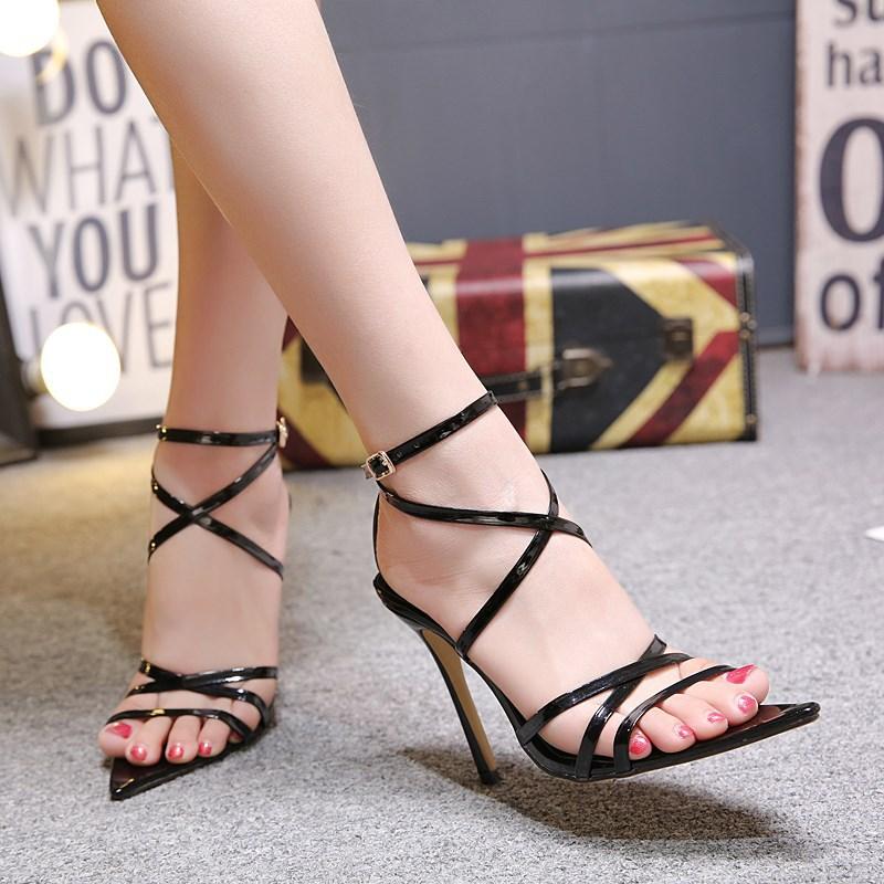HTB1QbQYXZvrK1Rjy0Feq6ATmVXaj LTARTA Sexy Yellow Sandals Ladies Sandals Summer New Pointed Fish Mouth Cross Stilettos Sharp Point Toe 11.5cm heels ZL-222-5