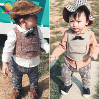 Lemonmiyu Toddler Boy Clothes For 1 4T Full Sleeve Cotton Casual Children's Warm Suits With Tie Plaid Fashion Gentle Kids Sets