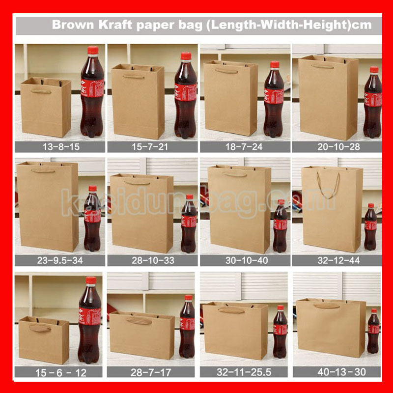 (100PCS/lot) 10 SIZE available wholesale high quality 260gsm brown kraft paper bag with handle