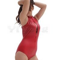 Three zipper Catsuit Sexy Swimsuit High Neck Halter Bodysuit Black One Piece Swimwear Body Suit Catsuit Sexy Club Dance Wear F68