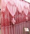 Alta Calidad Cortina de Encaje Princesa Hermosa Cortinas del Salón Dormitorio Cortinas de Boda Rosado De La Flor Púrpura 4 capas