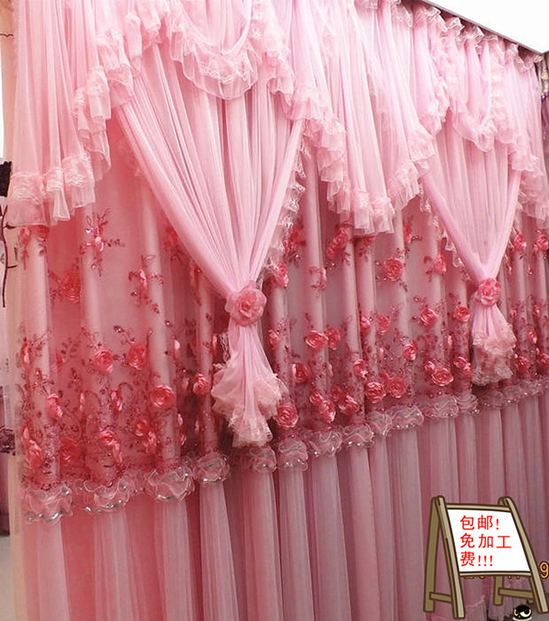High Quality Lace Curtain Princess Beautiful Living Room Curtains Bedroom  Wedding Flower Pink Purple Curtains 4layers In Curtains From Home U0026 Garden  On ...