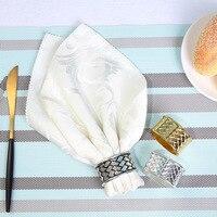 12/PCS metal creative plaid napkin ring silver napkin buckle wedding hotel napkin ring