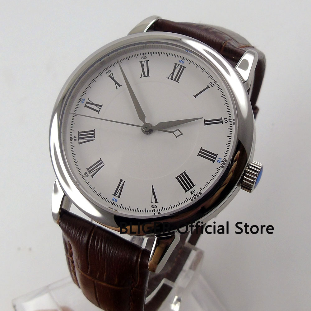 лучшая цена Sapphire Crystal 40mm White Sterile Dial Roman Numerals Silver Pointer Miyota Automatic Movement Men's Watch BD24