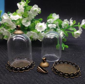 20set/lot 25mmx18mm (18opening) Glass vial glass dome Bubble with copper double lace base with top c