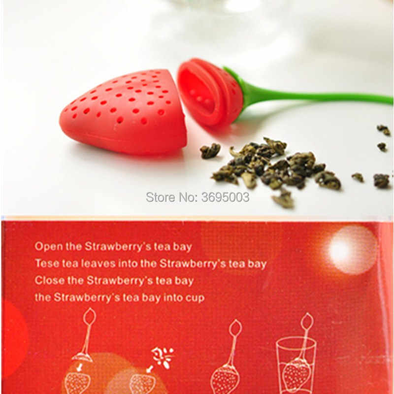 OUSSIRRO 1Pc lovely Reuseable Foof safe Silicone Red Strawberry Shape Tea Leaf Bag Holder Tea Coffee Punch Filter Tea Infuser
