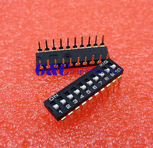 Black 2.54mm Pitch 10-Bit 10 Positions Ways Slide Type DIP Switch  стоимость