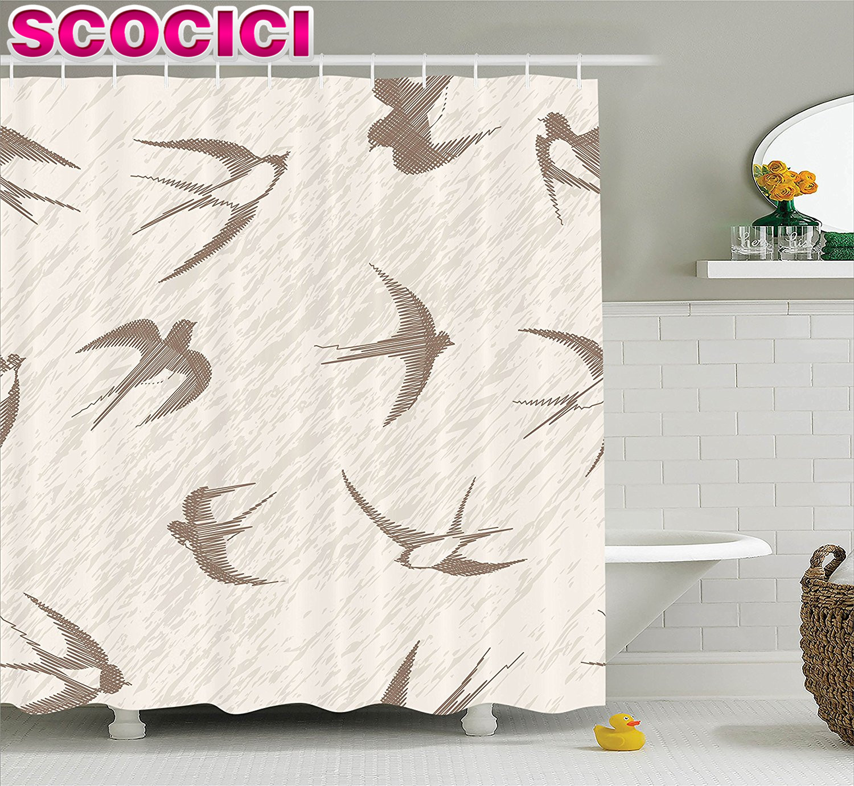 Bird decor bathroom - Flying Birds Decor Shower Curtain Set Flying Bird Swallow Vintage Design Illustration Springtime Wildlife Classic Art Bathroom A
