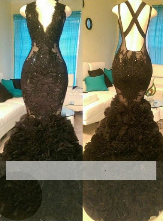 Black 2019   Prom     Dresses   Mermaid V-neck Applique Lace Beaded Backless Party Maxys Long   Prom   Gown Evening   Dresses   Robe De Soiree