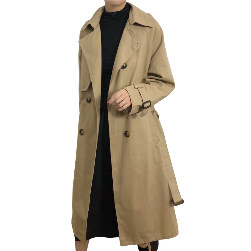 Classic Khaki Double Breasted   Trench   Coat Women Long Outerwear 2019 Spring Fall Womens Long Coat Oversized Loose Clothes