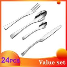 Spklifey Dinnerware Set  24pcs Cutlery Set Stainless Steel Western Kitchen Food Tableware Fork Knife Scoop Silverware Set цена и фото