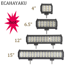 цена ECAHAYAKU 4inch 27W 54W 108W 135W 3 Row Led WORK Light Bar 4x4 Off road 12V 24V For Off Road Boat Truck ATV fog Spot Combo beam онлайн в 2017 году