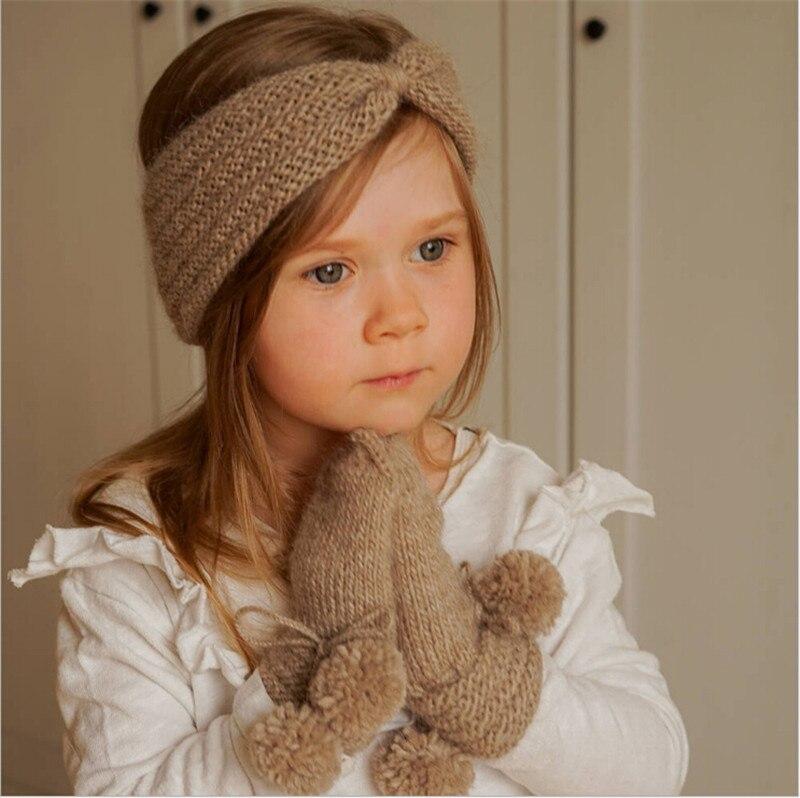 Новинка, теплая вязаная крючком тюрбан с узлом, повязка на голову, повязка на голову, оберточные аксессуары для детей, детские украшения для ...