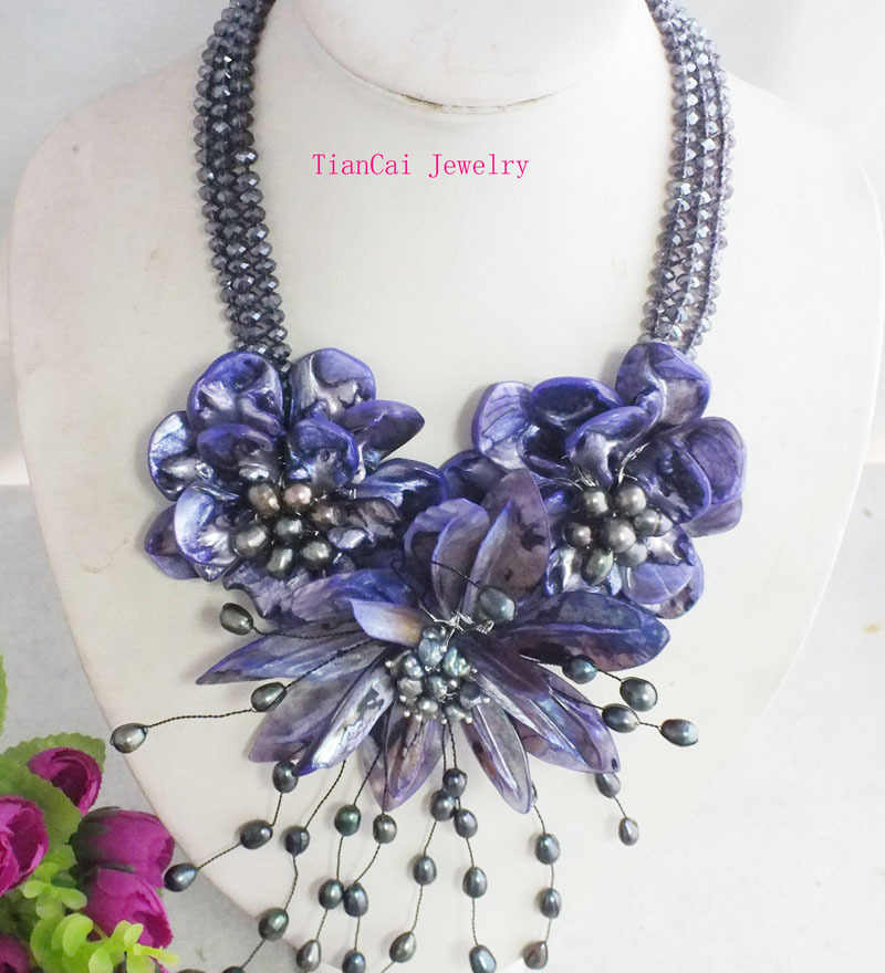 2017 New Fashion !!! Black crystal beads and purple shell flower necklace