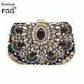 Vintage Women Black Beaded Clutch Bag Sequined Diamond Handbag Bridal Wedding Party Metal Clutches Purse Minaudiere Evening Bag